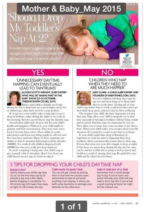 Babywinkz Consultancy - Article in magazine - toddler nap